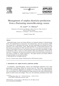 Management of Surplus Electricity Paper